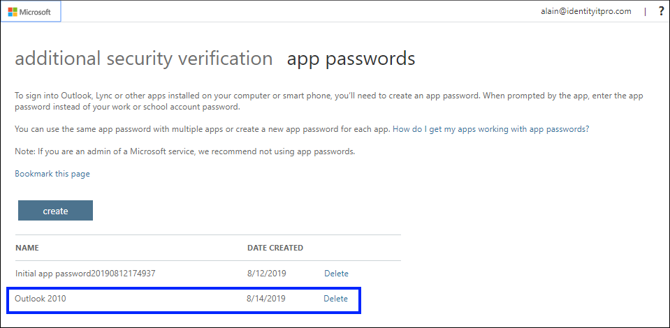 App passwords page, with new app shown in list