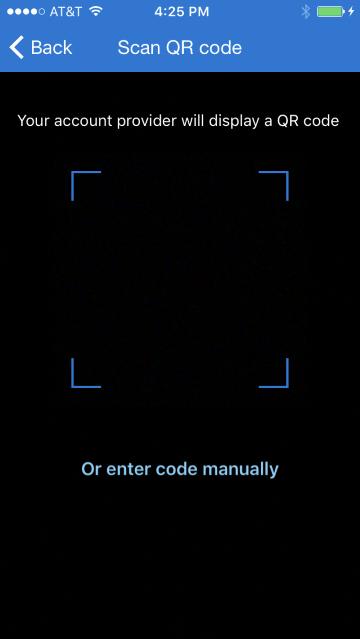 QR code screen