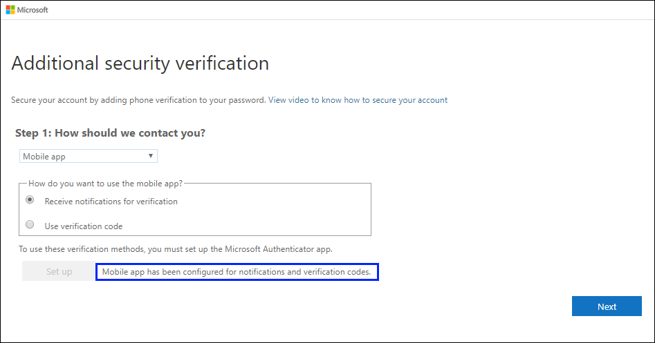 Additional security verification page, with success message