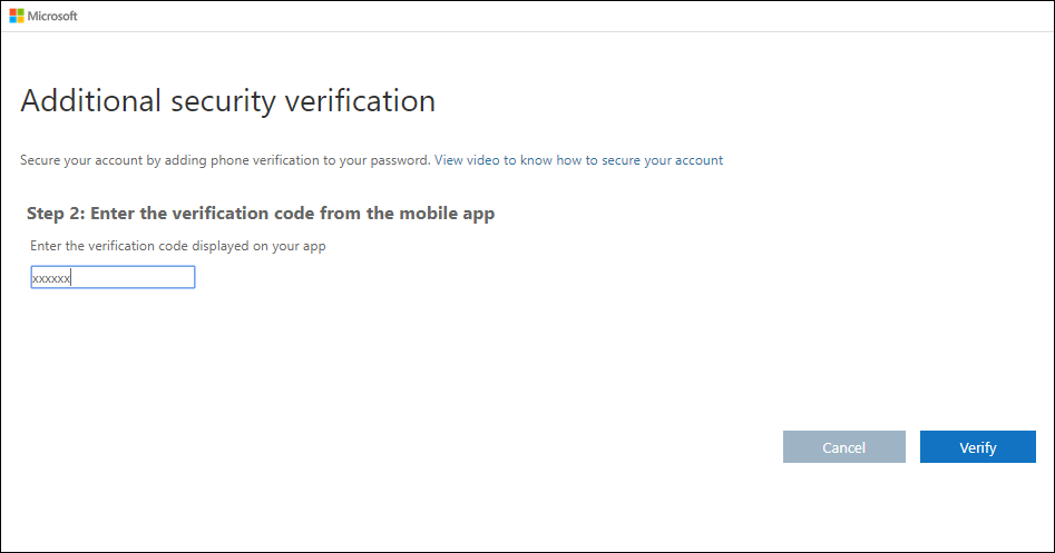 Additional security verification page, with verification code test