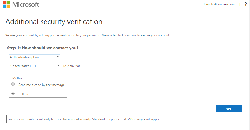 Additional security verification page, with authentication phone and phone call