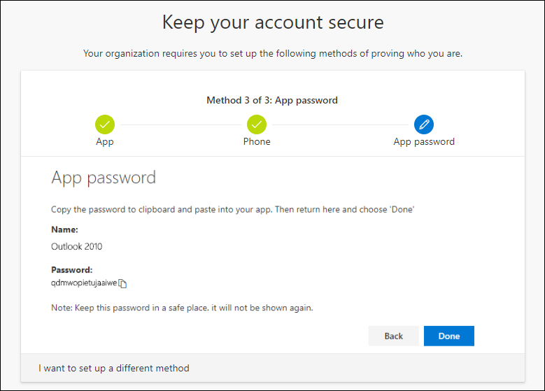 App password page, with password for copy