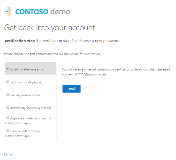 Get back into your account, verification step #1