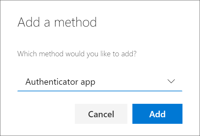 Add method box, with Authenticator app selected