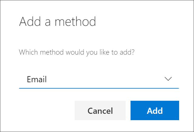 Add method box, with email selected