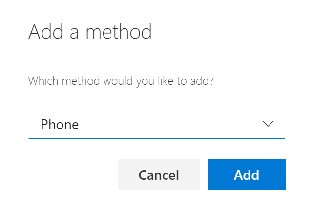 Add method box, with Phone selected