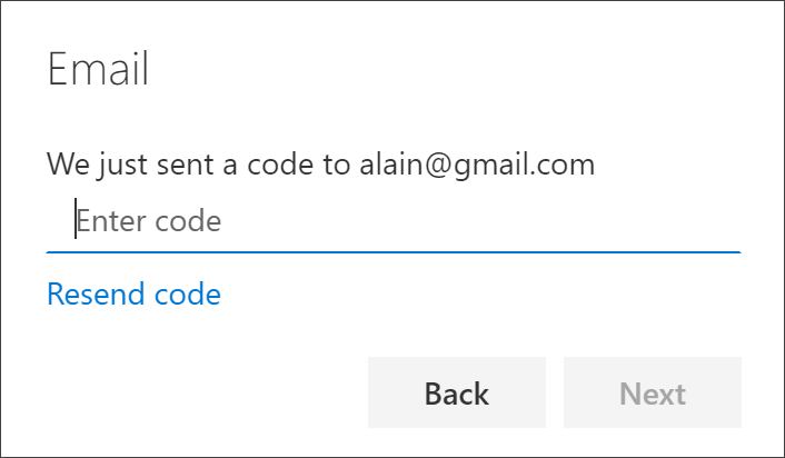 Set up security info (preview) to use your email address