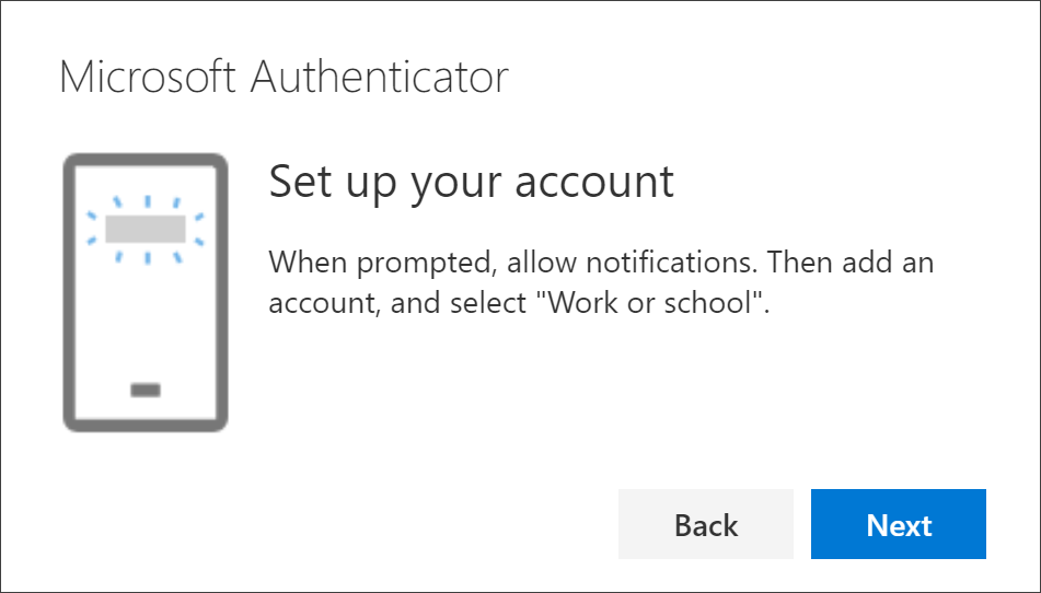 Set up the authenticator app page