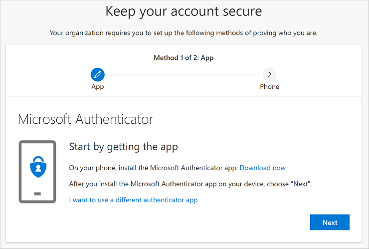 Keep your account secure wizard, showing the auth app download page
