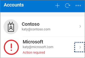 Screenshot that shows the Microsoft Authenticator app with the available account tiles.