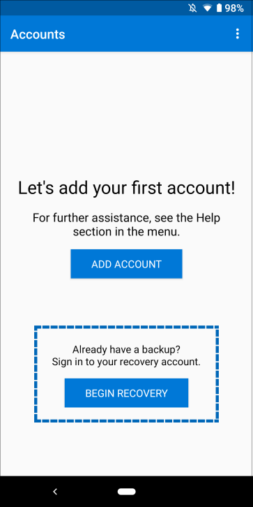 Backup and recover with Microsoft Authenticator app - Azure