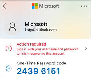 Screenshot that shows the Microsoft Authenticator one-time password code.