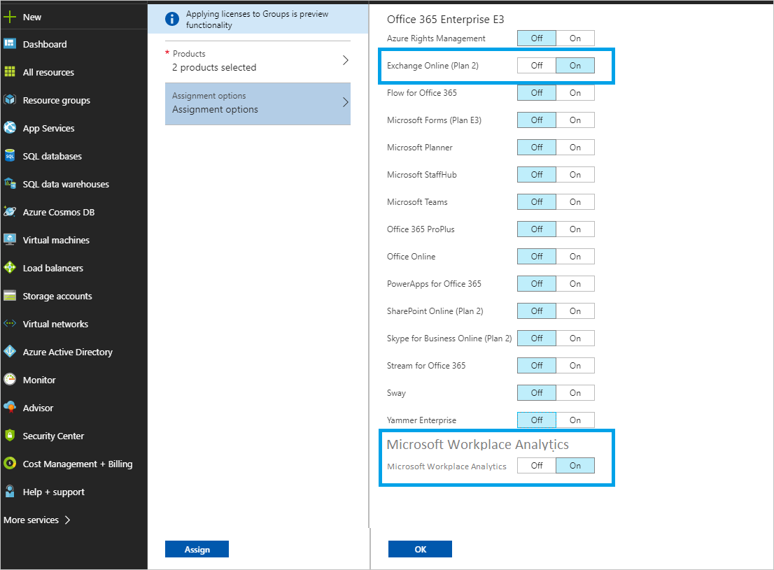 Resolve license assignment problems for a group - Azure
