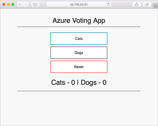 Screenshot showing the container image Azure Voting App running in an AKS cluster opened in a local web browser