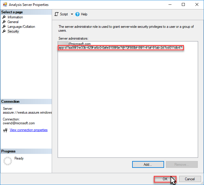 Screenshot that shows the service principal account ID and highlights the OK button.