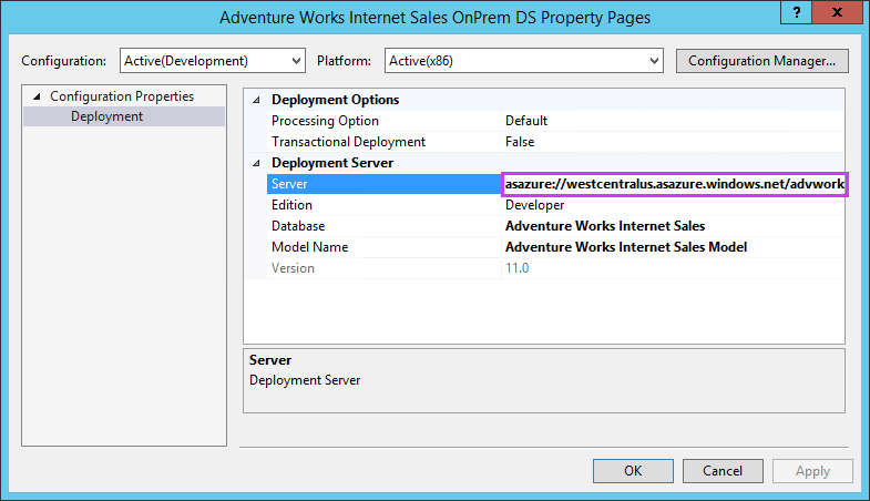 Deploy to Azure Analysis Services by using Visual Studio (SSDT