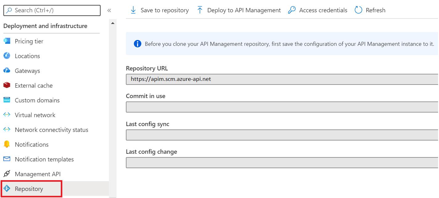Configure your API Management service using Git - Azure