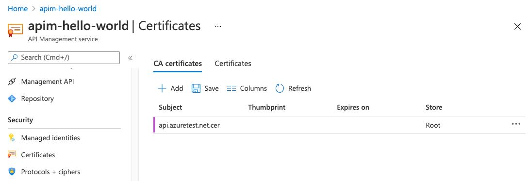 Add a custom CA certificate - Azure API Management | Microsoft Docs