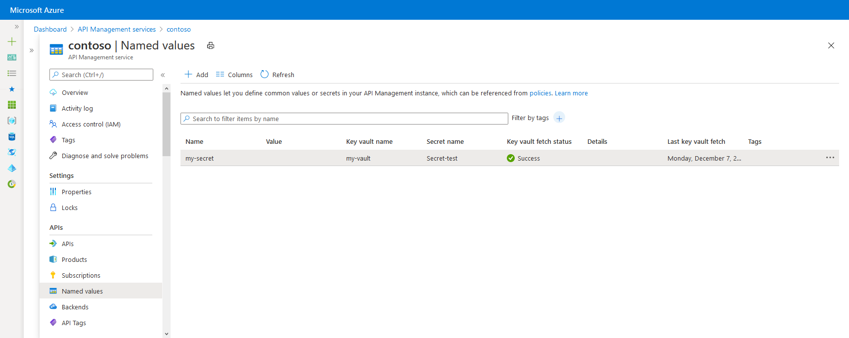 How to use Named Values in Azure API Management policies