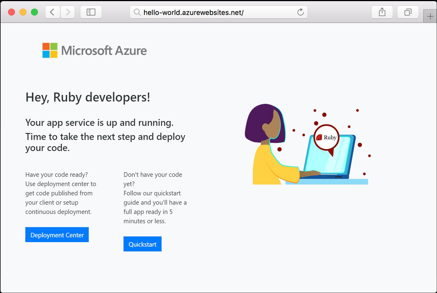Create Ruby web app on Linux - Azure App Service | Microsoft Docs