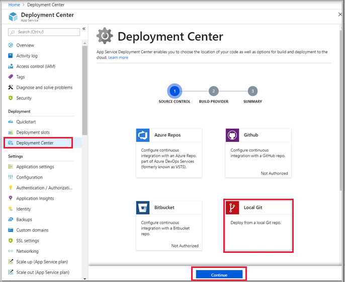 Deploy from local Git repo - Azure App Service | Microsoft Docs