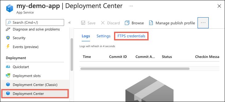 Configure deployment credentials - Azure App Service