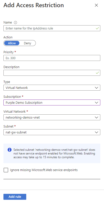 Restrict access - Azure App Service | Microsoft Docs