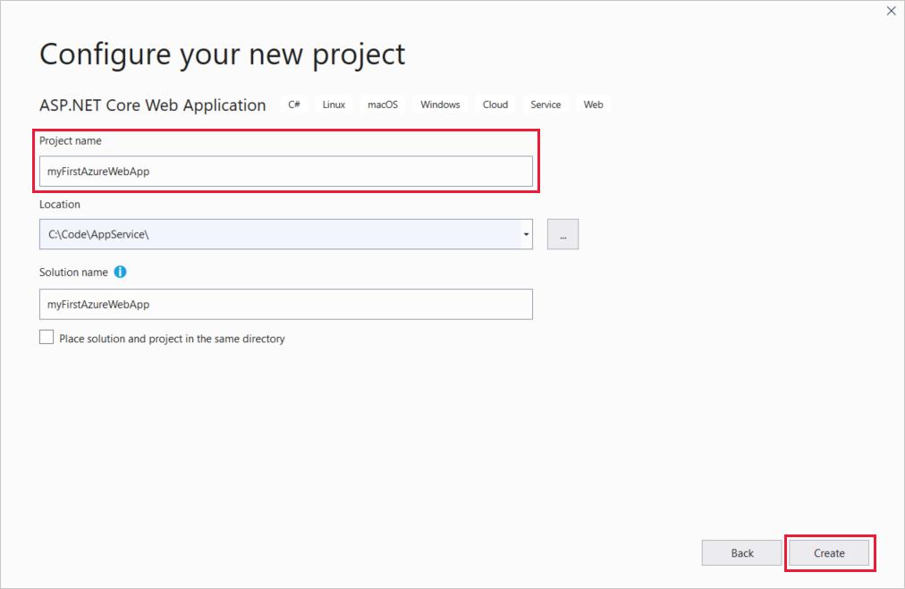 Create C# ASP NET Core web app - Azure App Service