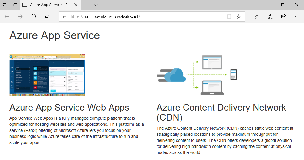 In Home Page create a static html web app in azure microsoft docs