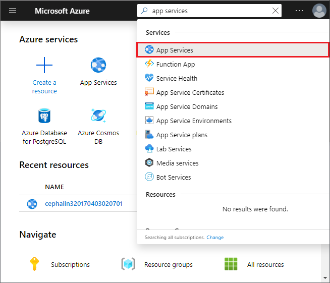 Select App Services in the Azure portal
