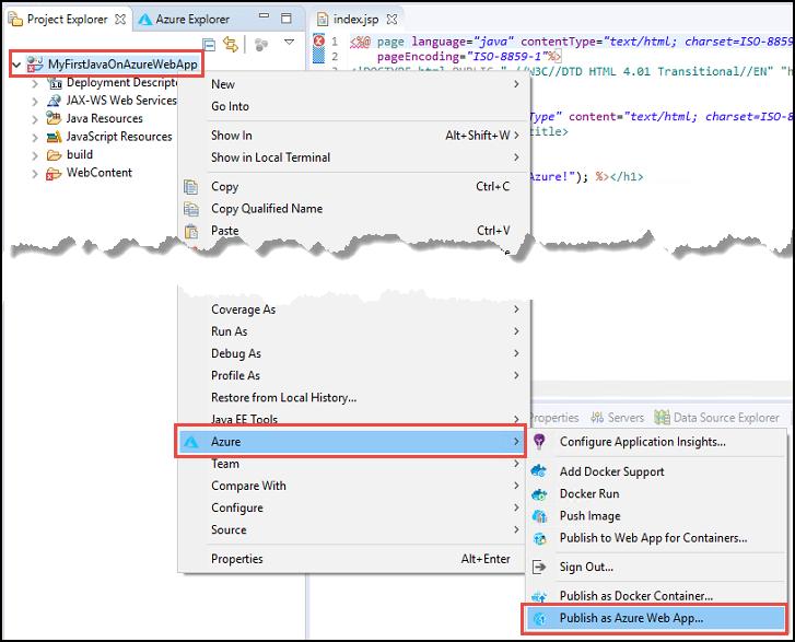 Create your first java web app in azure microsoft docs publish as azure web app context menu ccuart Choice Image
