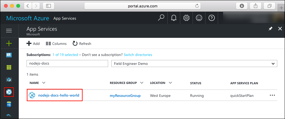Portal navigation to Azure web app
