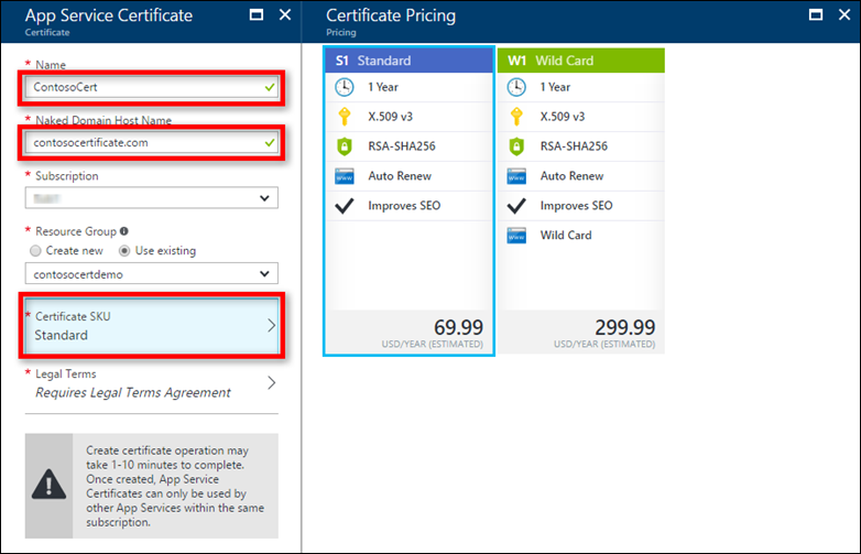 Buy and configure an SSL certificate from Azure - App