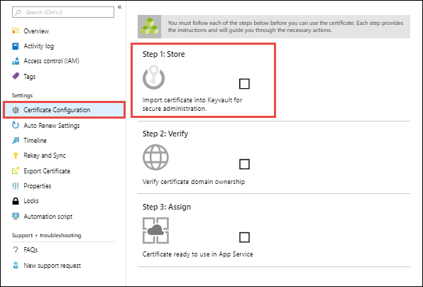 Buy and configure an ssl certificate for your azure app service insert image of ready to store in kv xflitez Gallery