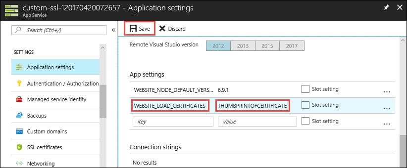 Use client SSL certificate in application code - Azure App