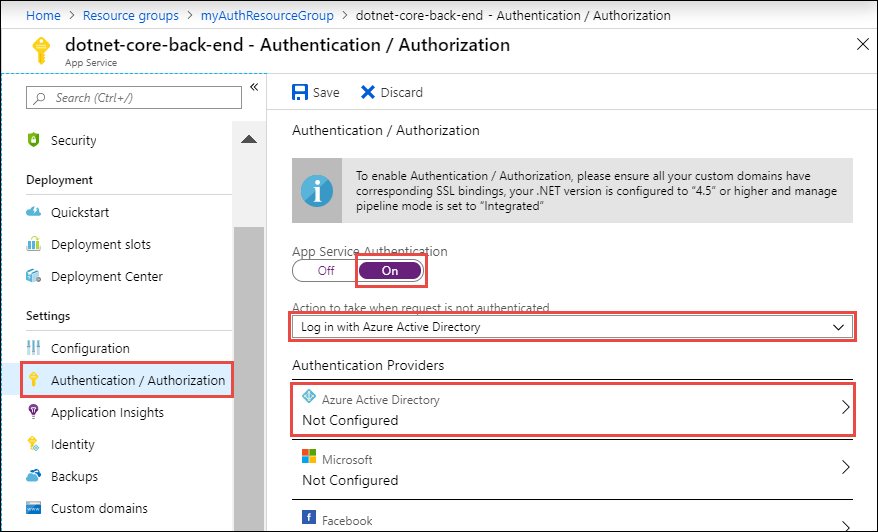 Authenticate and authorize users end-to-end - Azure App