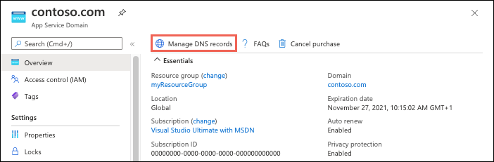 This Action Opens The Dns Zone Page Of Your App Service Domain In Azure Dns For Information On How To Edit Dns Records See How To Manage Dns Zones In The