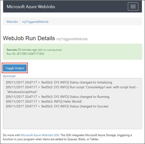 Run Background Tasks With Webjobs Azure App Service Microsoft Docs