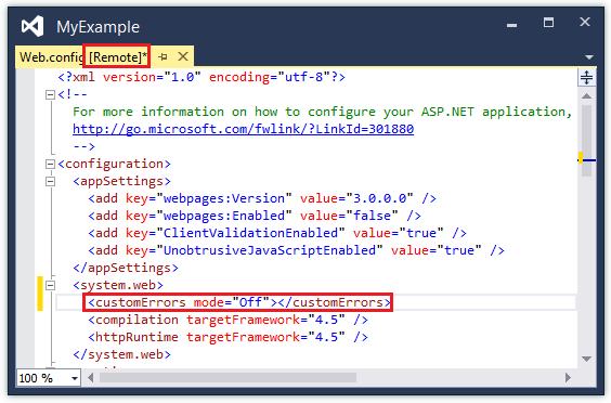 Error updating web config