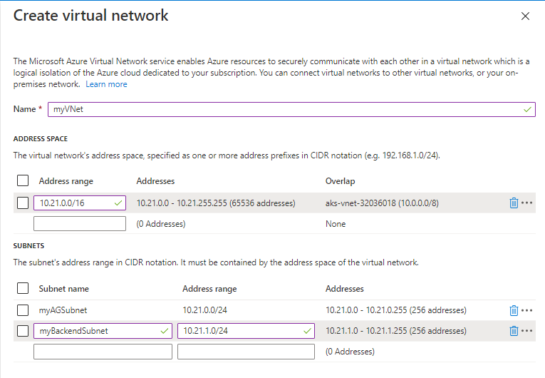 Create new application gateway: virtual network