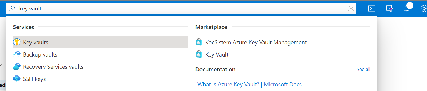 Screenshot that shows how to search for the Key Vault service.