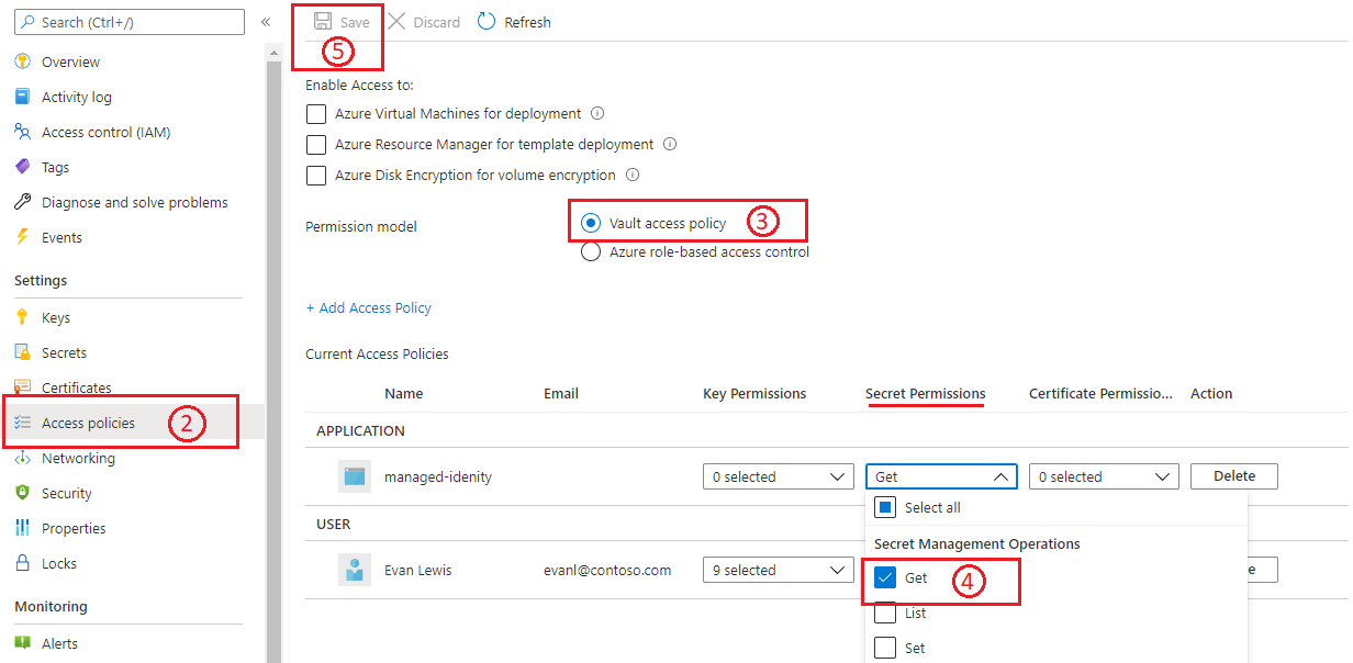 Screenshot that shows how to resolve the Get permission error.