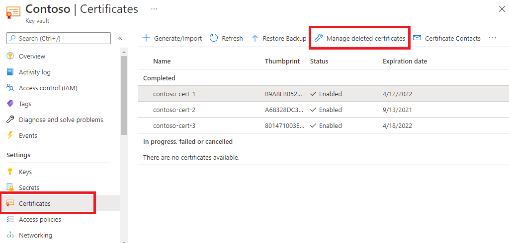 Screenshot that shows how to recover a deleted certificate in Key Vault.