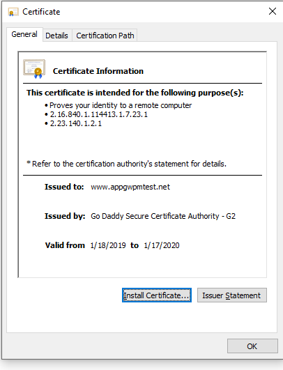 Certificates required for whitelisting backends in Azure