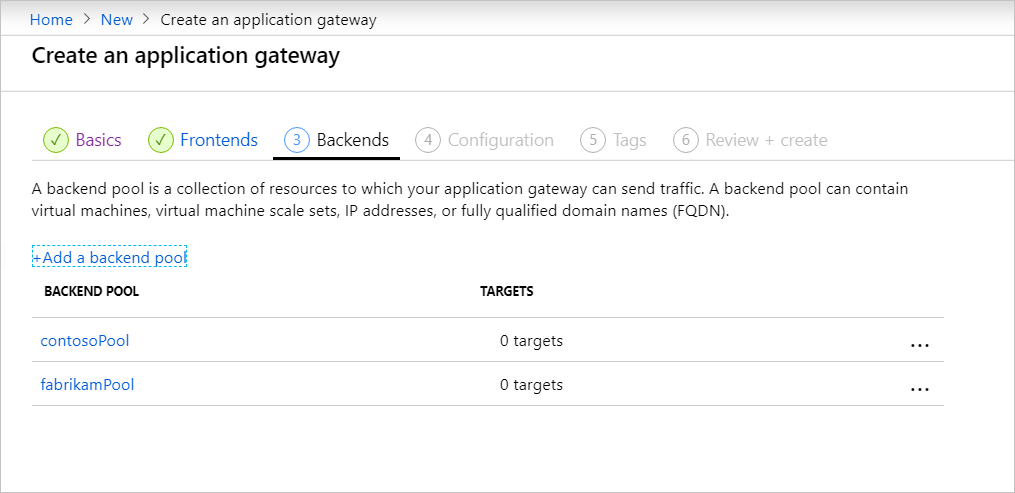 Create new application gateway: backends