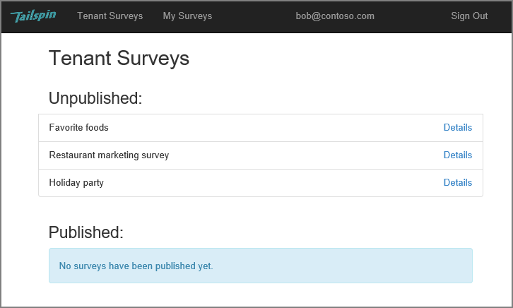about the tailspin surveys application microsoft docs