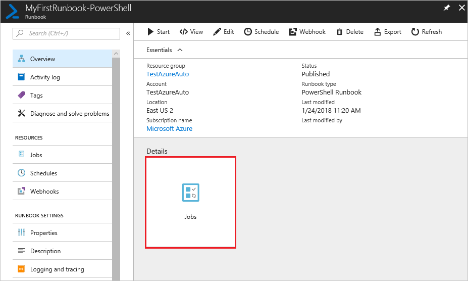 My first PowerShell runbook in Azure Automation   Microsoft Docs