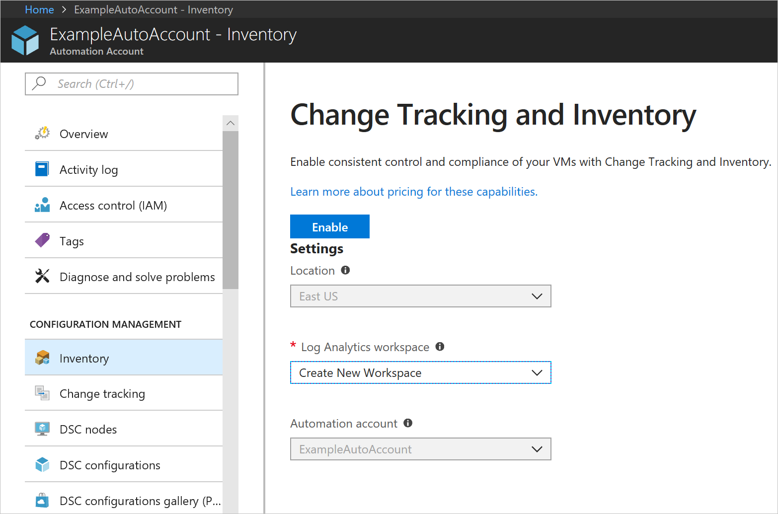 onboard update and change tracking solutions to azure automation