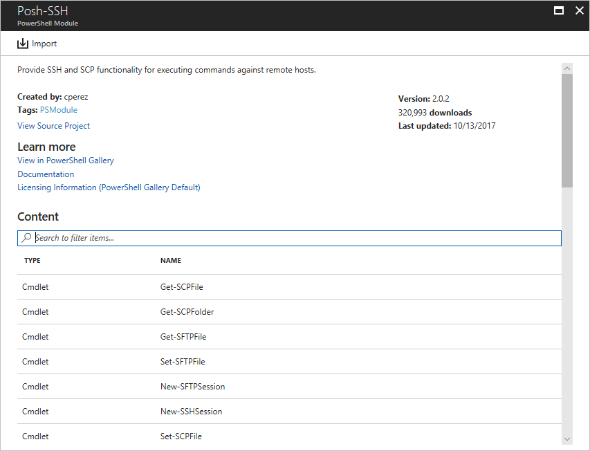 Runbook and module galleries for Azure Automation | Microsoft Docs