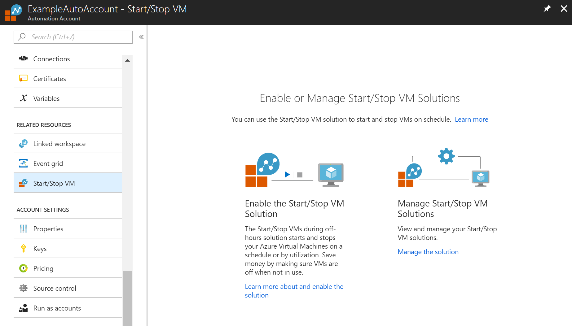 Start/Stop VMs during off-hours solution | Microsoft Docs